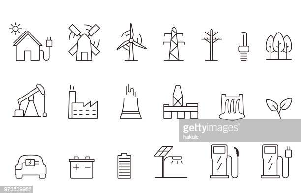 power energy icon set, vector illustration - solar power station stock illustrations, clip art, cartoons, & icons