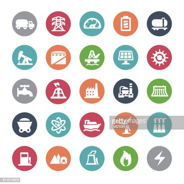 power generation icons - bijou series - offshore platform stock illustrations, clip art, cartoons, & icons