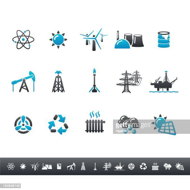 power generation icons | blue grey - drilling rig stock illustrations, clip art, cartoons, & icons