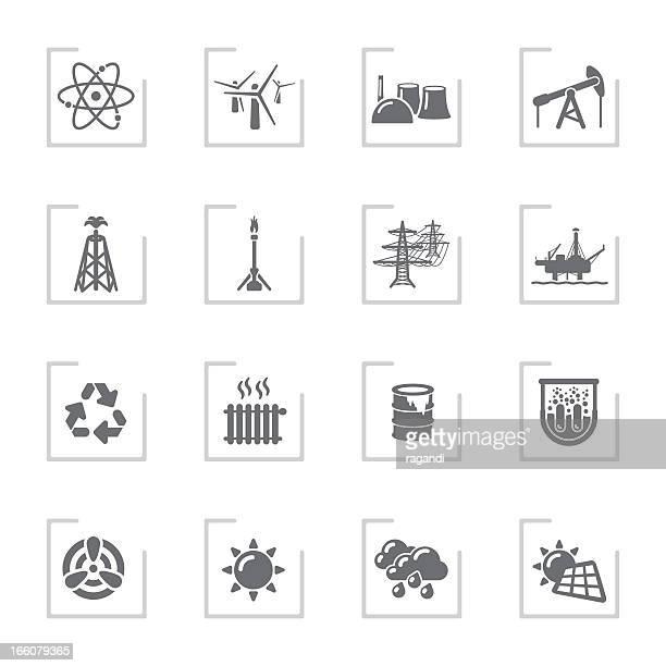 power generation icons | framed grey - drilling rig stock illustrations, clip art, cartoons, & icons
