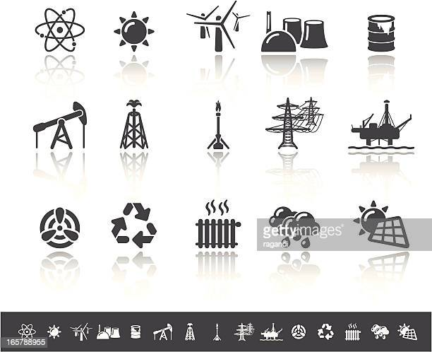 power generation icons | simple grey - offshore platform stock illustrations, clip art, cartoons, & icons