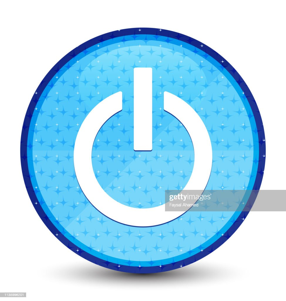 Power icon galaxy cyan blue round button