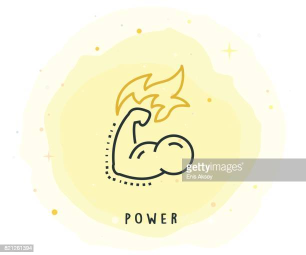 power icon with watercolor patch - bicep stock illustrations, clip art, cartoons, & icons