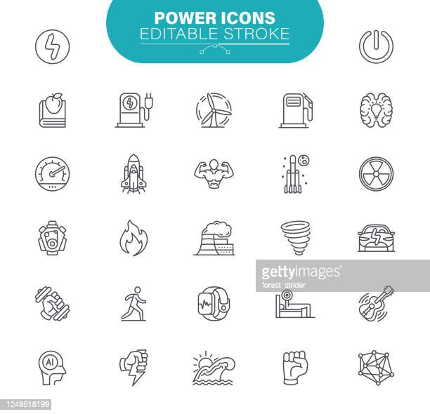 power icons. set contains icons as performance, feedback, running, speedometer, success, illustration - artificial neural network stock illustrations