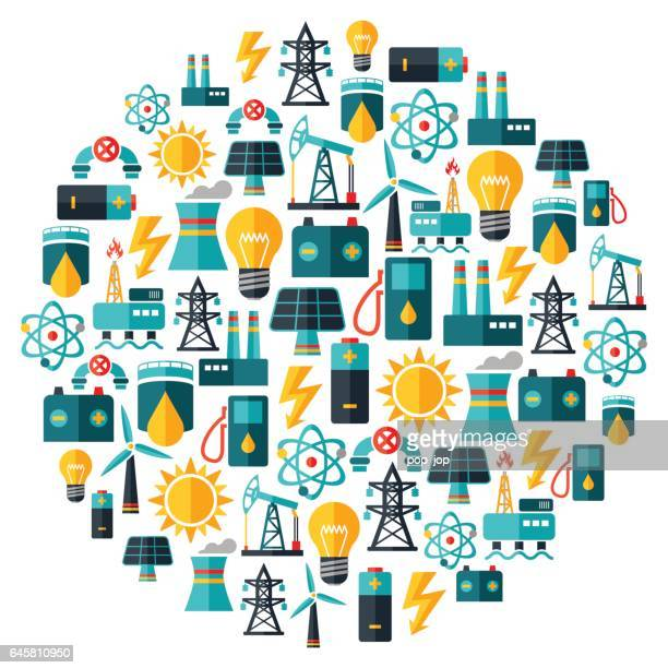 Power Industry Icons Round Composition - illustration