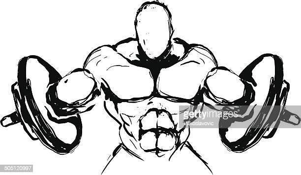 power lifting sketch concept. - body building stock illustrations, clip art, cartoons, & icons
