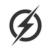 Power lightning logo icon. Vector electric fast thunder bolt symbol isolated on transparent background
