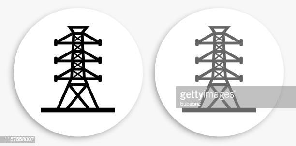 power line black and white round icon - tower stock illustrations