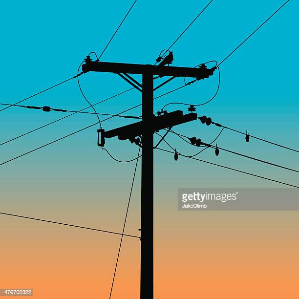 power line silhouette - steel cable stock illustrations