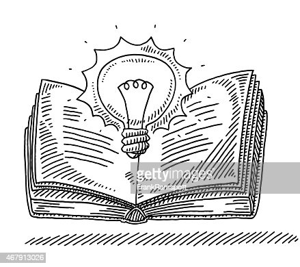 Power Of Knowledge Concept Book Lightbulb Drawing Vector
