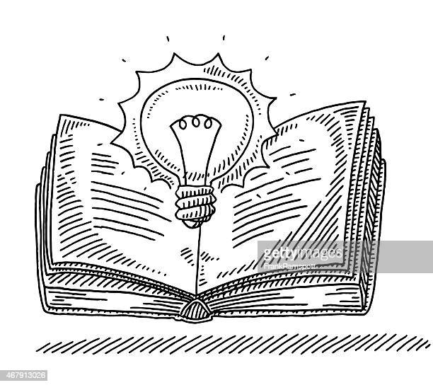 Power Of Knowledge Concept Book Lightbulb Drawing