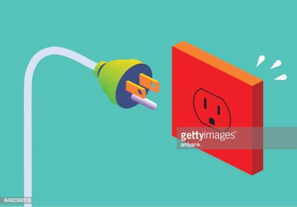 power outlet (us) - electric plug stock illustrations
