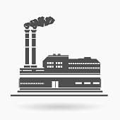 Power Plant Factory Building Icon Vector Illustration Silhouette.