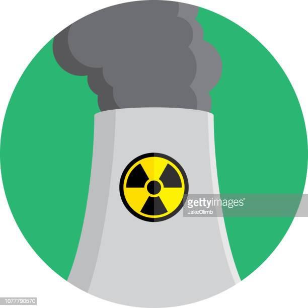 power plant icon flat - uranium stock illustrations