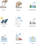 Power plant icon vector symbol set
