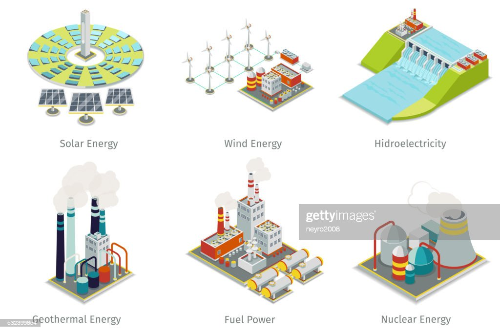 Power plant icons. Electricity generation plants and sources