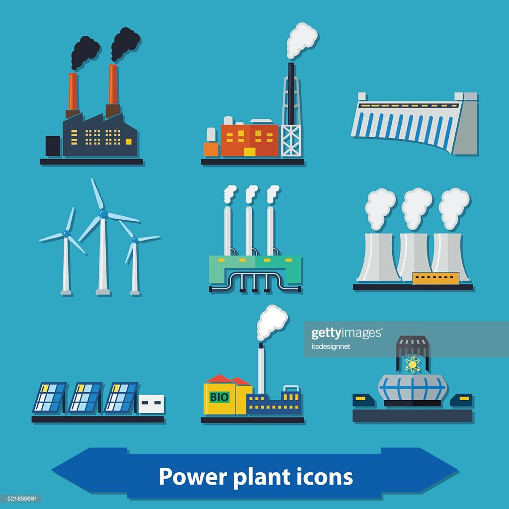 Power plant icons flat