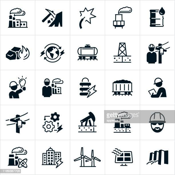 power plant icons - nuclear energy stock illustrations