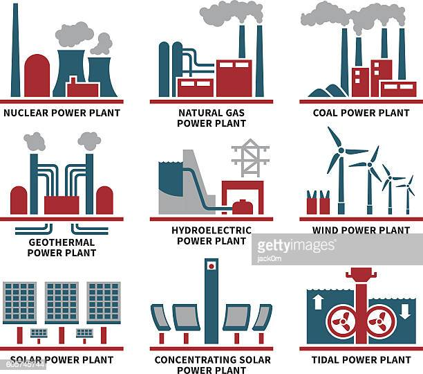 power plant types icon set - nuclear energy stock illustrations