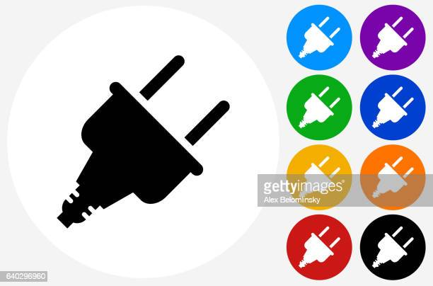 power plug icon on flat color circle buttons - electric plug stock illustrations, clip art, cartoons, & icons
