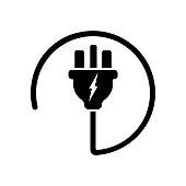 Power plug or uk electric plug, electricity symbol icon in black. Forbidden symbol simple on isolated white background. EPS 10 vector.