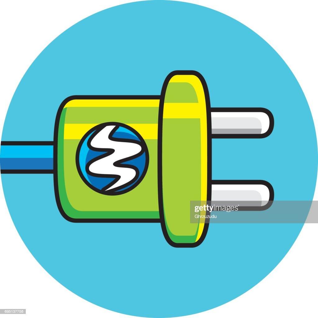 AC power plug with electricity lightning symbol
