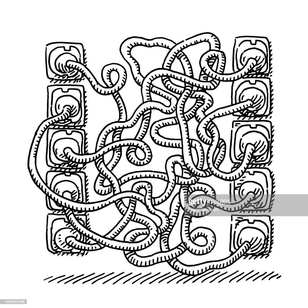 Stromstecker verwechselt Kabel Zeichnung : Vektorgrafik