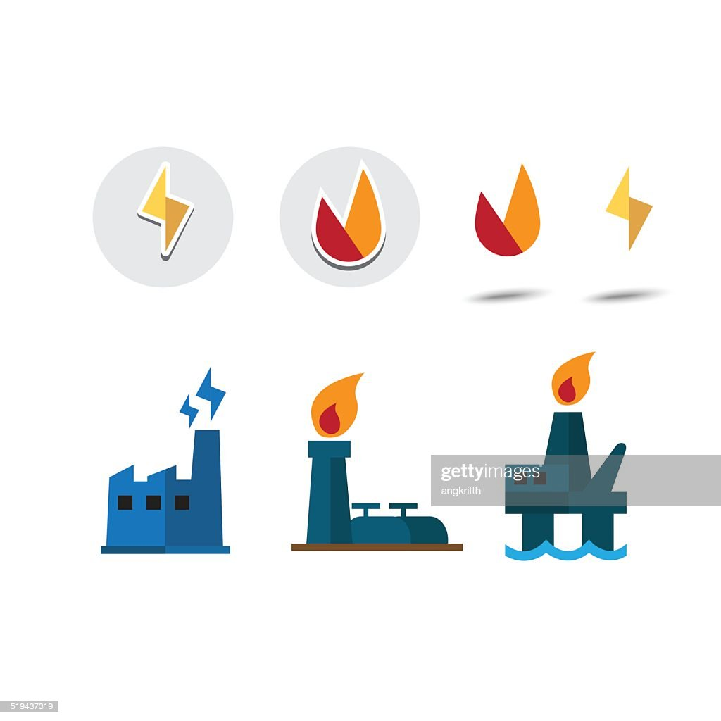 power resource icon set. electricity. Oil and gas - vector