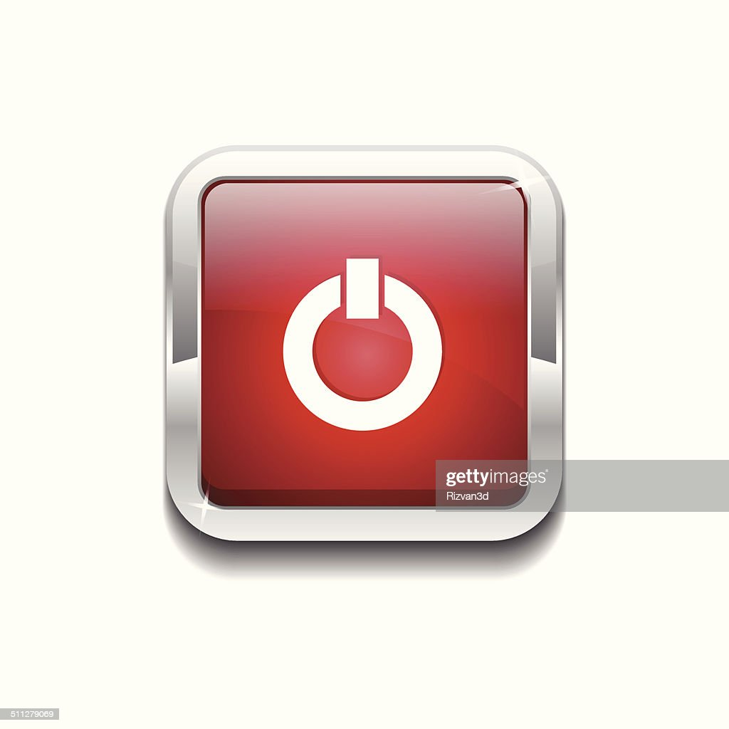 Power Rounded Rectangular Vector Red Web Icon Button