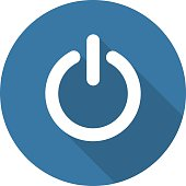 Power Sign Icon. Flat Design. Long Shadow.