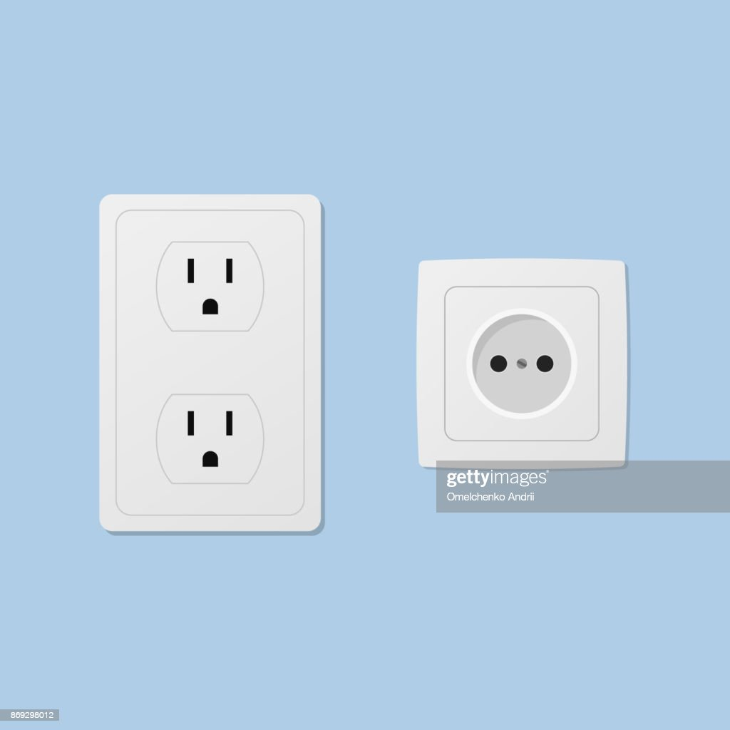 Power socket isolated on blue background
