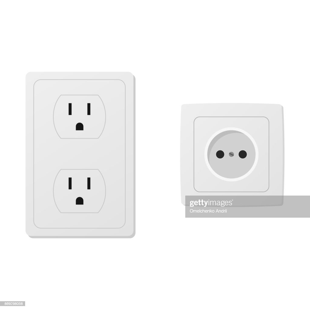 Power socket isolated on white background