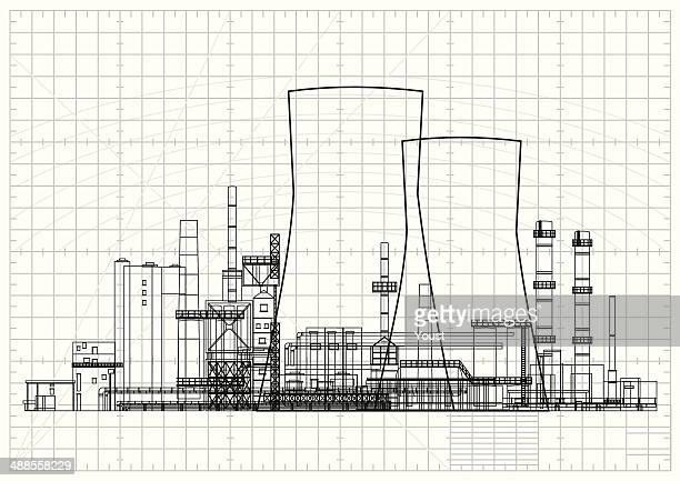 power station blueprint - nuclear energy stock illustrations