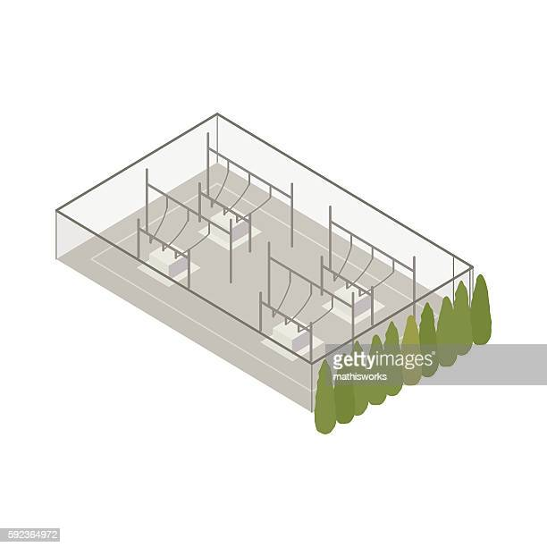 power substation isometric illustration - mathisworks architecture stock illustrations