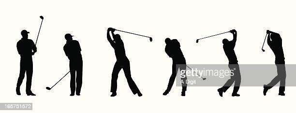 power swing vector silhouette - golf swing stock illustrations, clip art, cartoons, & icons