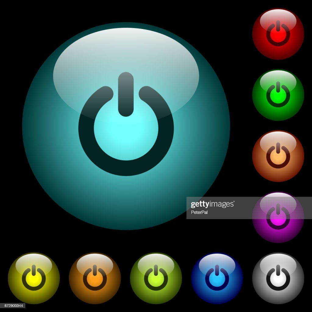Power switch icons in color illuminated glass buttons