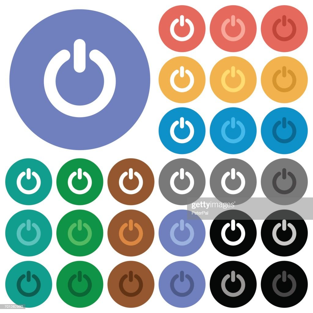Power switch round flat multi colored icons