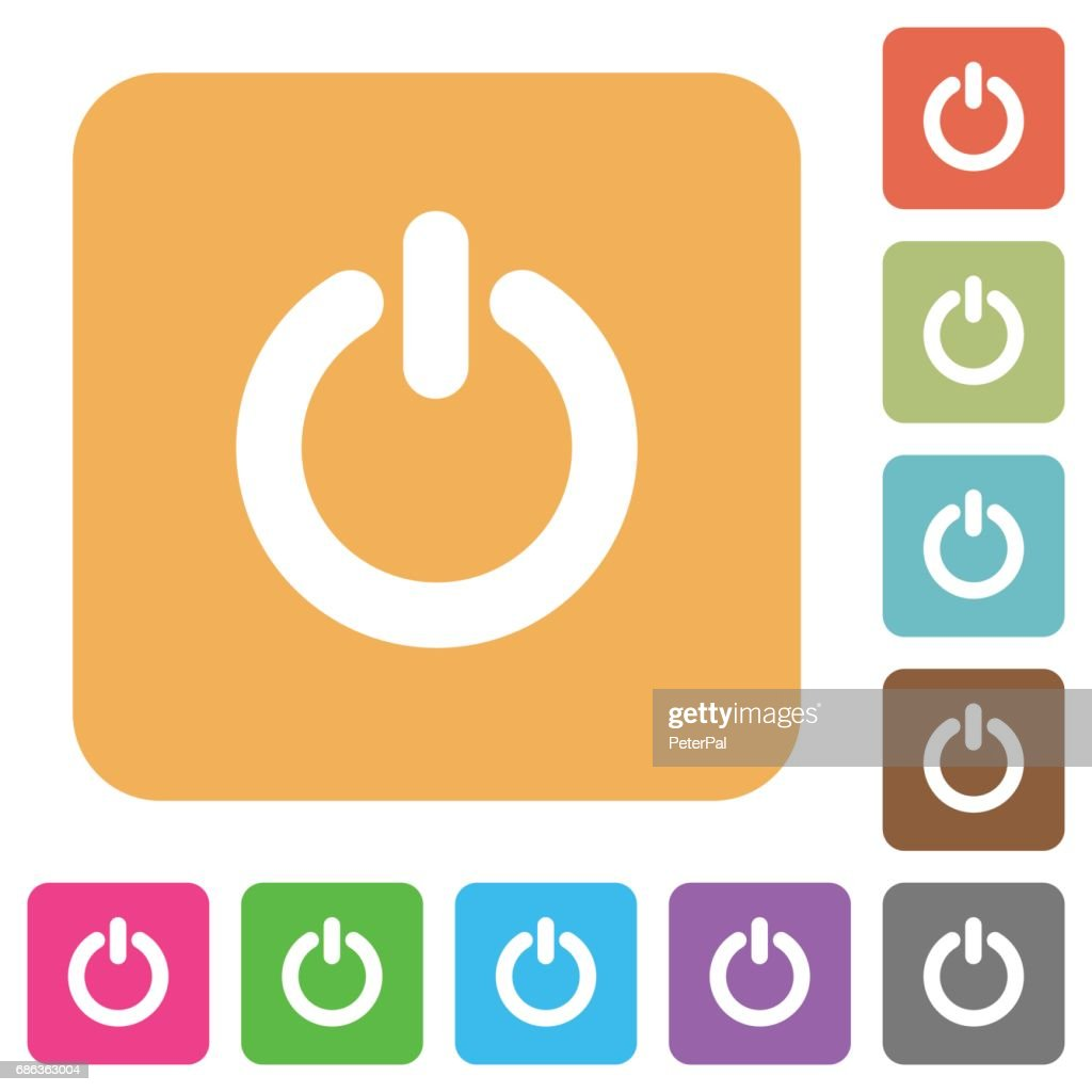 Power switch rounded square flat icons