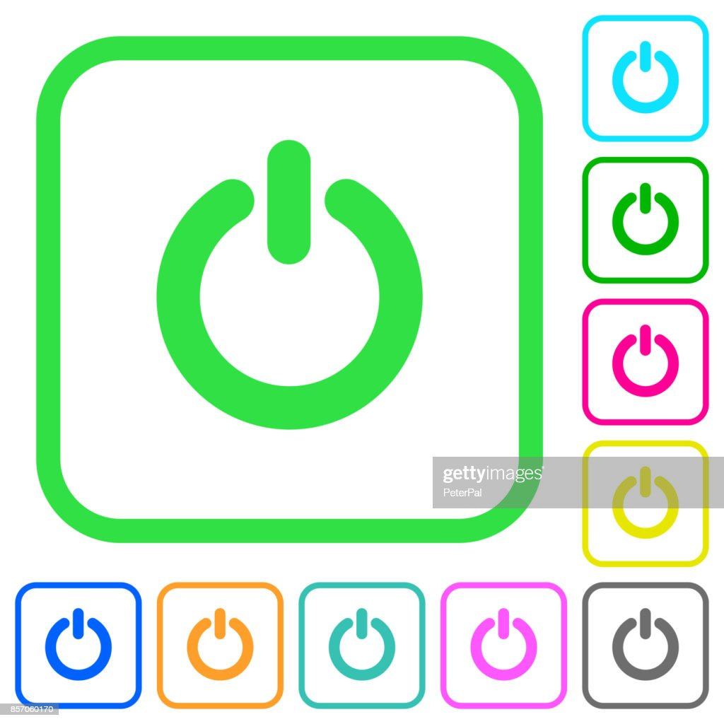 Power switch vivid colored flat icons icons