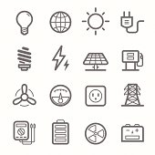 power symbol line icon set