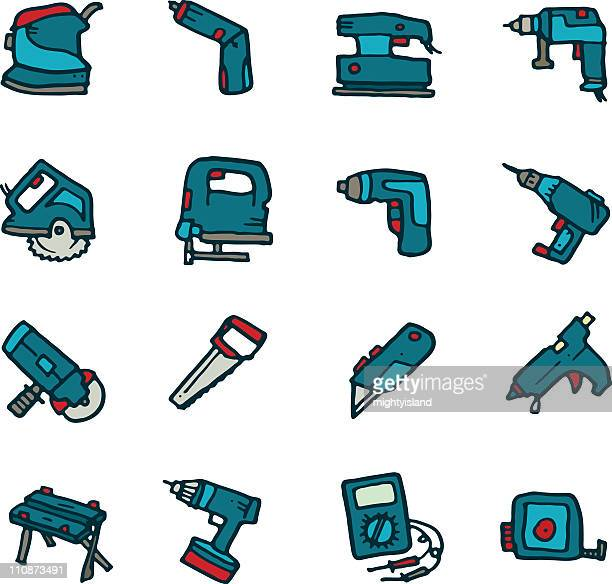 power tool icon doodles - power tool stock illustrations, clip art, cartoons, & icons