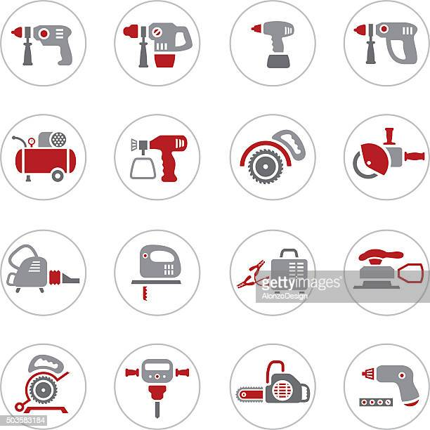 power tool icons - leaf blower stock illustrations