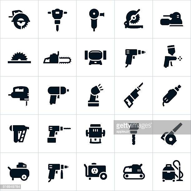 power tools and equipment icons - leaf blower stock illustrations