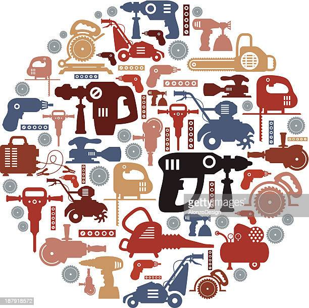 power tools collage - leaf blower stock illustrations, clip art, cartoons, & icons