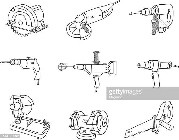 stockillustraties, clipart, cartoons en iconen met power tools doodles - gekarteld