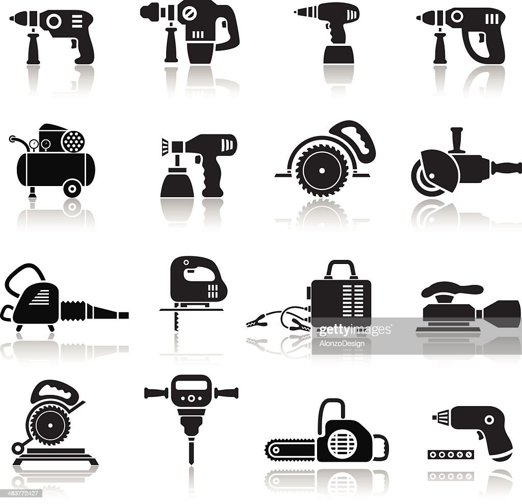 power tools icons set vector art getty images