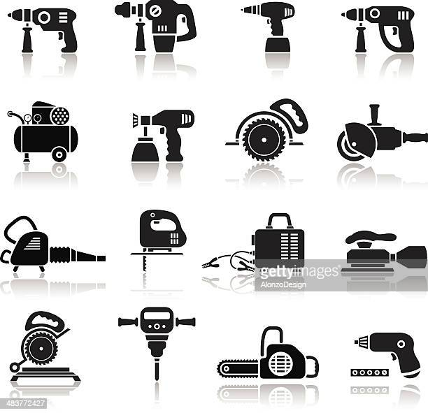 power tools icons set - leaf blower stock illustrations, clip art, cartoons, & icons