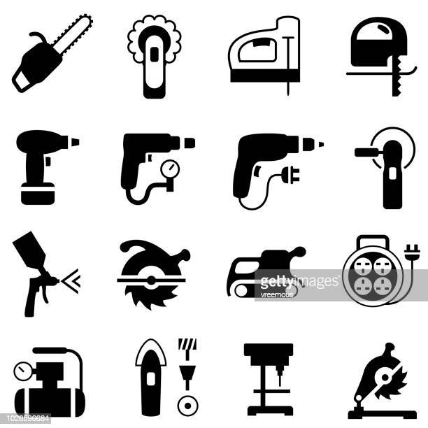 power tools icons - power tool stock illustrations, clip art, cartoons, & icons