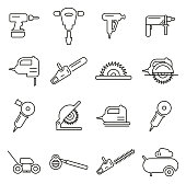 Power Tools or Electric Tools Icons Thin Line Vector Illustration Set