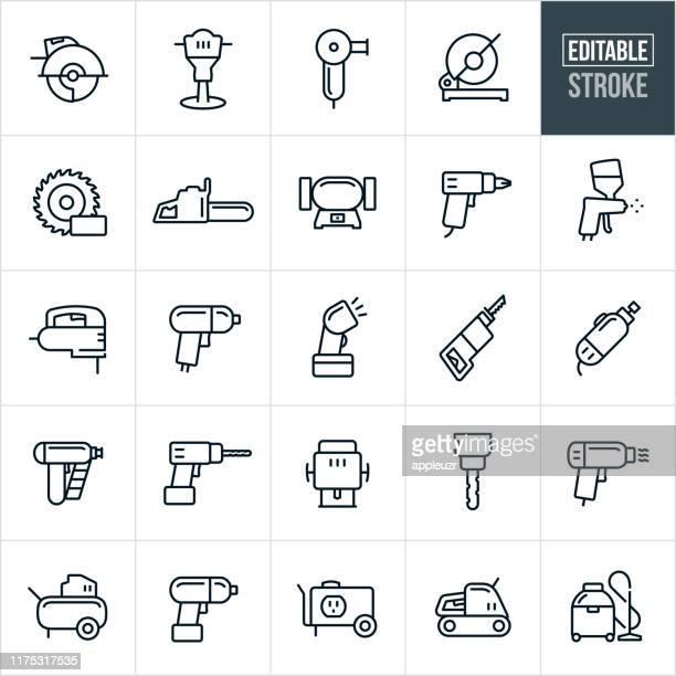 bildbanksillustrationer, clip art samt tecknat material och ikoner med elverktyg tunna linje ikoner-redigerbar stroke - generator